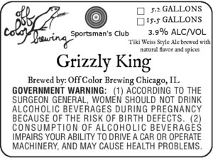 Off Color Brewing Grizzly King