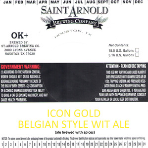 Saint Arnold Brewing Company Icon Gold Belgian Style Wit