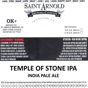 Saint Arnold Brewing Company Temple Of Stone IPA