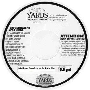 Yards Brewing Company Matinee Session India Pale Ale