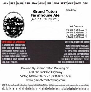 Grand Teton Brewing Company Grand Teton Farmhouse