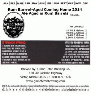 Grand Teton Brewing Company Rum Barrel-aged Coming Home 2014