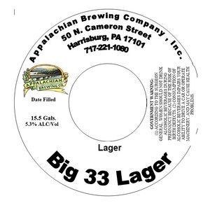 Appalachian Brewing Co. Big 33 Lager