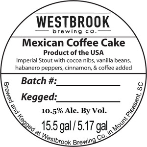 Westbrook Brewing Company Mexican Coffee Cake