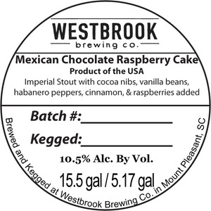 Westbrook Brewing Company Mexican Chocolate Raspberry Cake July 2015