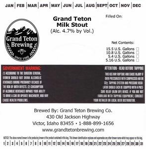 Grand Teton Brewing Company Grand Teton Milk Stout