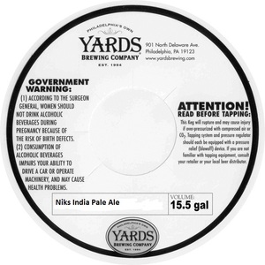 Yards Brewing Company Niks India Pale Ale