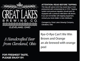 The Great Lakes Brewing Co. Rye-o-rye Can't We Win Brown And Orange