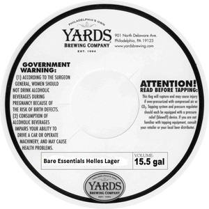 Yards Brewing Company Bare Essentials Helles Lager