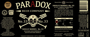 Paradox Beer Company Skully Barrel No. 33