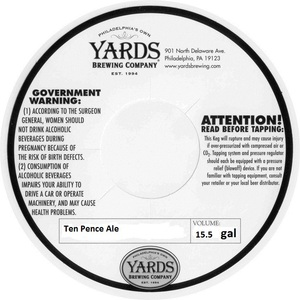 Yards Brewing Company Ten Pence Ale