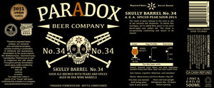Paradox Beer Company Skully Barrel No. 34