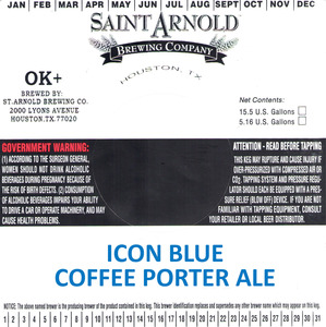 Saint Arnold Brewing Company Icon Blue Coffee Porter