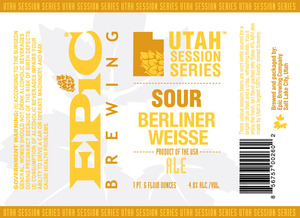 Epic Brewing Company Utah Session Series Berliner Weisse Ale