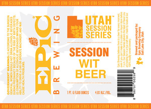 Epic Brewing Company Utah Session Series Wit Beer