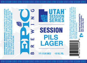 Epic Brewing Company Utah Session Series Pils Lager