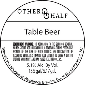 Other Half Brewing Company Table Beer