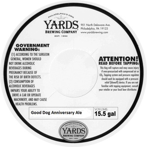 Yards Brewing Company Good Dog Anniversary Ale