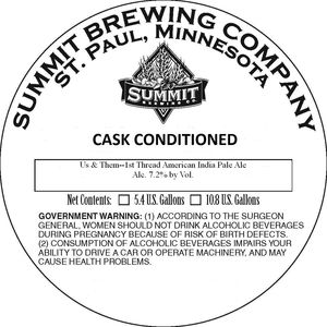 Summit Brewing Company Us And Them 1st Thread American IPA