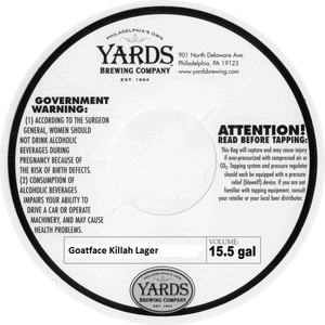 Yards Brewing Company Goatface Killah Lager