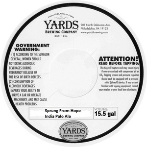 Yards Brewing Company Sprung From Hope India Pale Ale