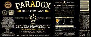 Paradox Beer Company Cerveza Provisional