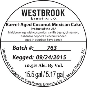 Westbrook Brewing Company Barrel-aged Coconut Mexican Cake