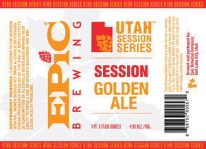 Epic Brewing Company Utah Session Series Golden Ale