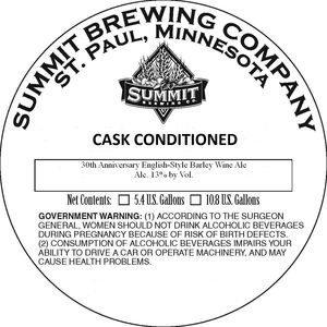 Summit Brewing Company 30th Anniversary Englishstyle Barleywine