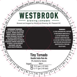 Westbrook Brewing Company Tiny Tornado Double IPA March 2016