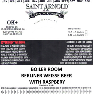 Saint Arnold Brewing Company Boiler Room Berliner Weisse W/ Raspberry