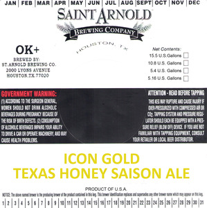 Saint Arnold Brewing Company Icon Gold Texas Honey Saison