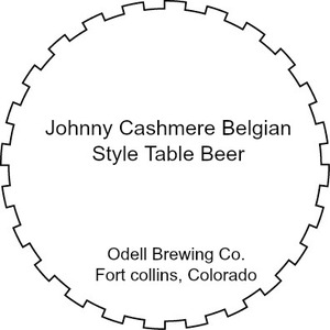 Odell Brewing Company Johnny Cashmere Belgian Style Table Beer