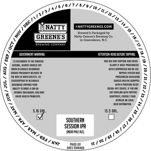 Natty Greene's Brewing Co. Southern Session IPA April 2016