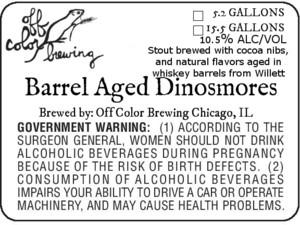 Off Color Brewing Barrel Aged Dinosmores