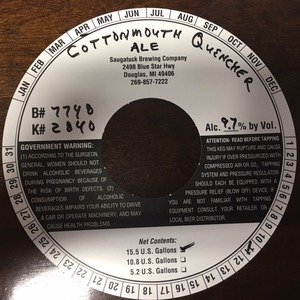 Saugatuck Brewing Company Cotton Mouth Quencher