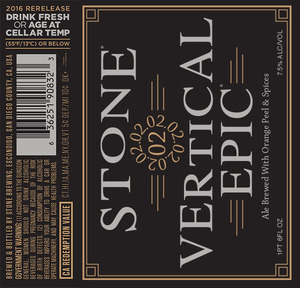 Stone Vertical Epic Ale