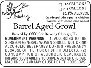 Off Color Brewing Barrel Aged Growl