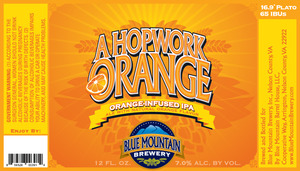 Blue Mountain Brewery A Hopwork Orange IPA