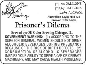 Off Color Brewing Prisoner's Dilema