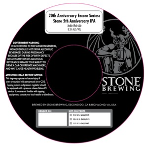 20th Anniversary Encore Series Stone 5th Anniversary IPA