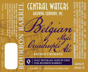 Central Waters Brewing Company Belgian Style Quadruple Ale