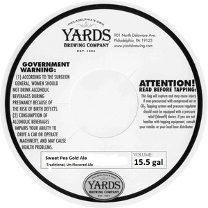 Yards Brewing Company Sweet Pea Gold Ale