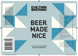 Evil Twin Brewing Beer, Made Nice