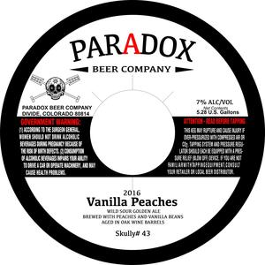 Paradox Beer Company Vanilla Peaches