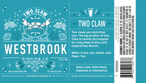 Westbrook Brewing Company Two Claw