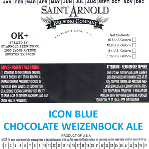 Saint Arnold Brewing Company Icon Blue Chocolate Weizenbock