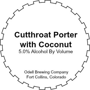 Odell Brewing Company Cutthroat Porter With Coconut
