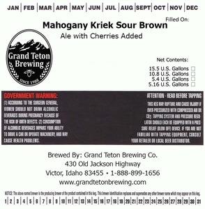 Grand Teton Brewing Company Mahogany Kriek Sour Brown