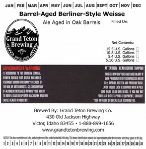 Grand Teton Brewing Company Barrel-aged Berliner-style Weisse